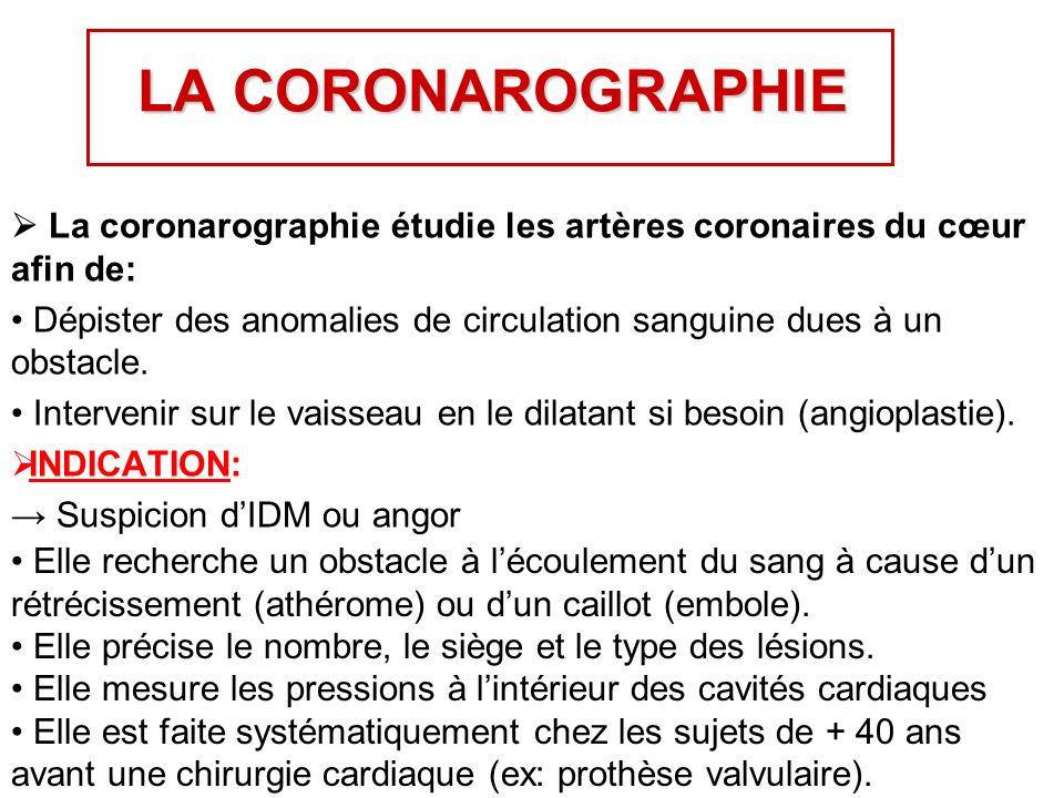 LA CORONAROGRAPHIE La coronarographie étudie les artères coronaires du cœur afin de: Dépister des anomalies de circulation sanguine dues à un obstacle.