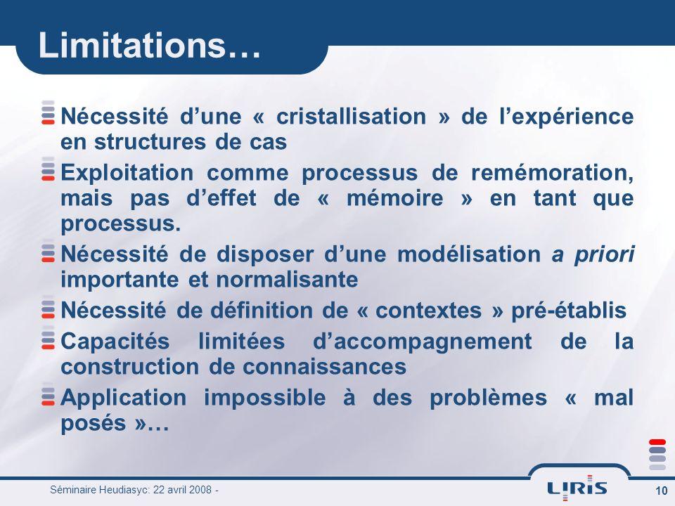 Séminaire Heudiasyc: 22 avril 2008 - 10 Limitations… Nécessité dune « cristallisation » de lexpérience en structures de cas Exploitation comme process
