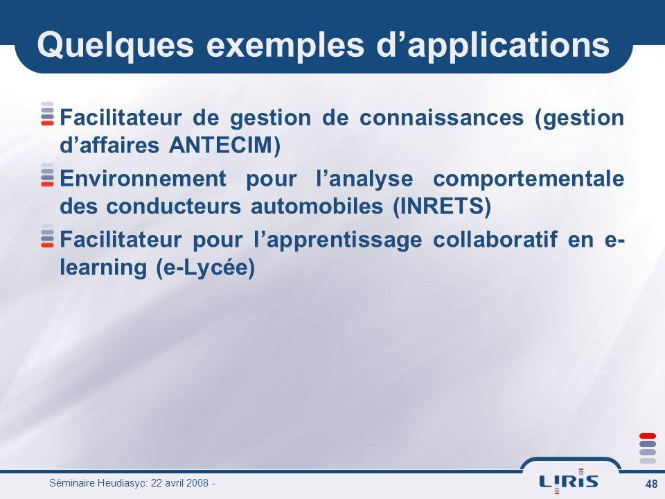 Séminaire Heudiasyc: 22 avril 2008 - 48 Quelques exemples dapplications Facilitateur de gestion de connaissances (gestion daffaires ANTECIM) Environne