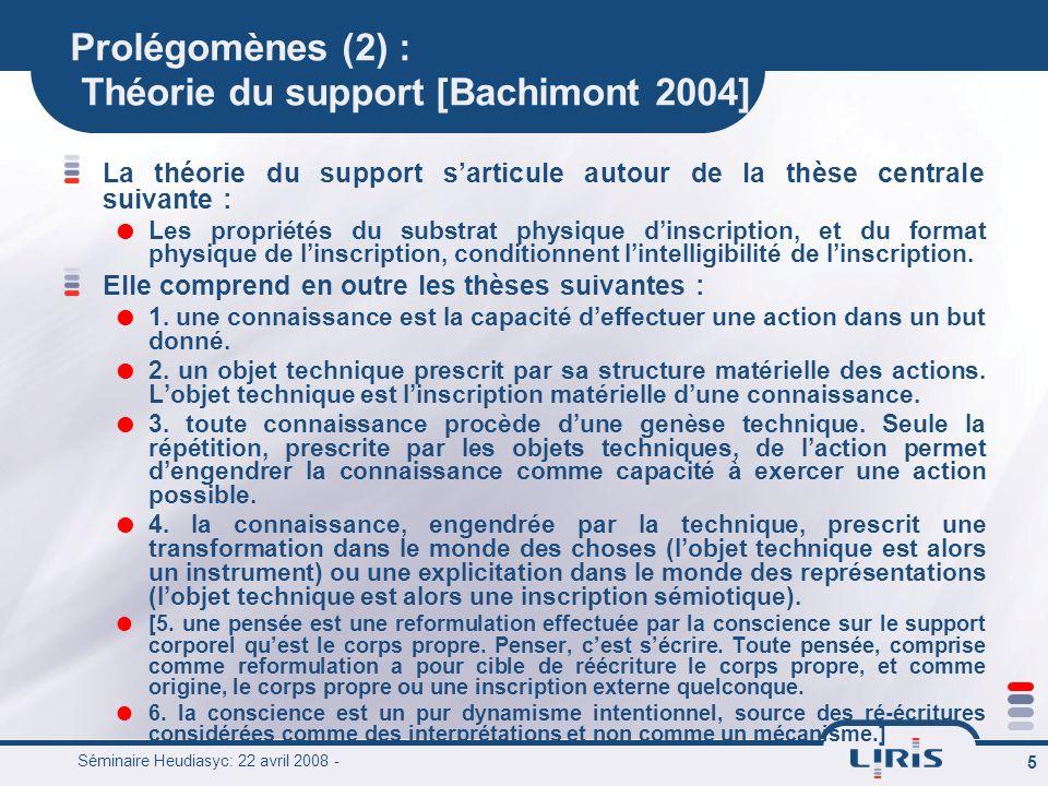 Séminaire Heudiasyc: 22 avril 2008 - 5 Prolégomènes (2) : Théorie du support [Bachimont 2004] La théorie du support sarticule autour de la thèse centr