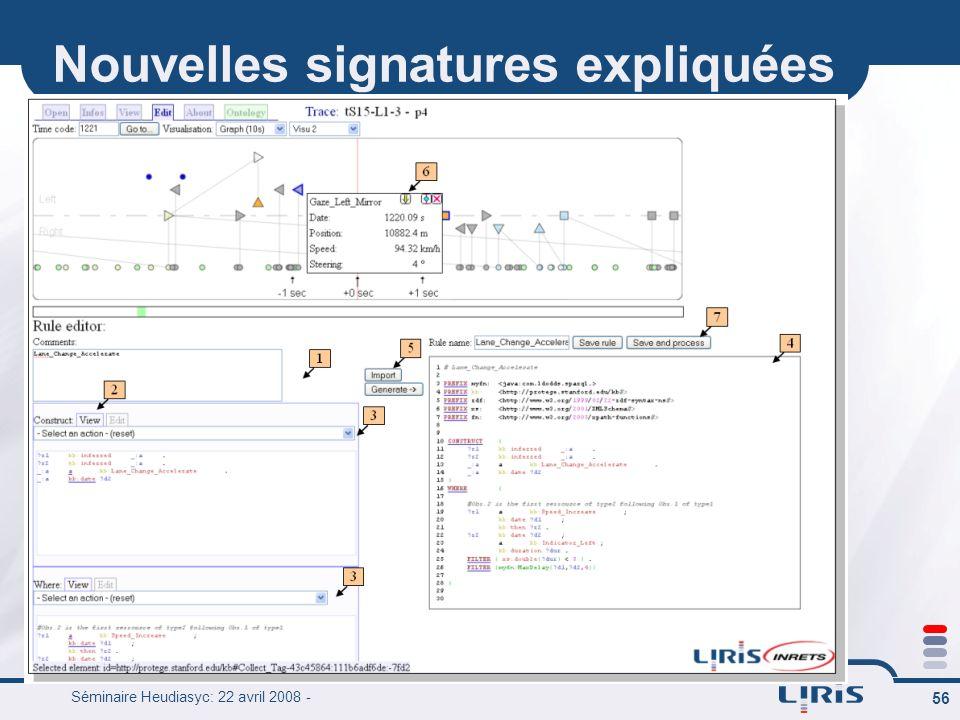 Séminaire Heudiasyc: 22 avril 2008 - 56 Nouvelles signatures expliquées