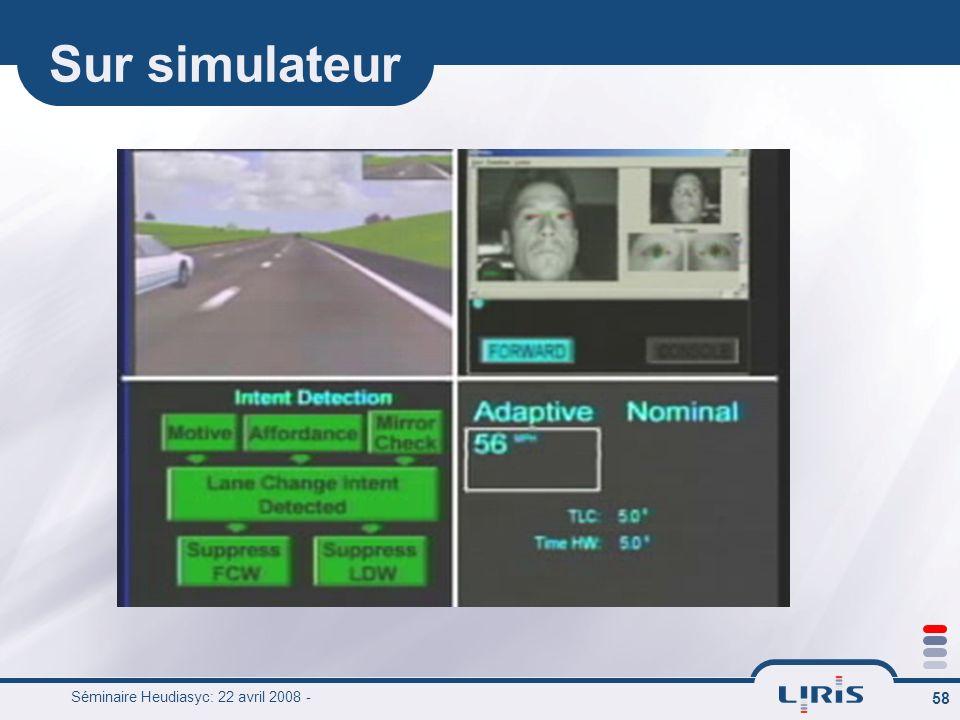 Séminaire Heudiasyc: 22 avril 2008 - 58 Sur simulateur