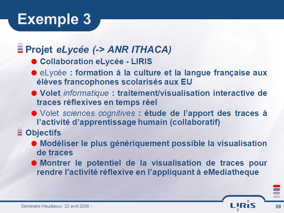 Séminaire Heudiasyc: 22 avril 2008 - 59 Exemple 3 Projet eLycée (-> ANR ITHACA) Collaboration eLycée - LIRIS eLycée : formation à la culture et la lan