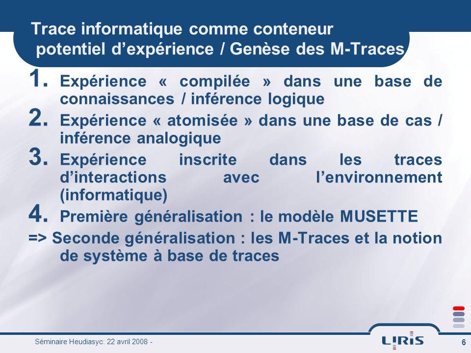 Séminaire Heudiasyc: 22 avril 2008 - 6 Trace informatique comme conteneur potentiel dexpérience / Genèse des M-Traces 1. Expérience « compilée » dans