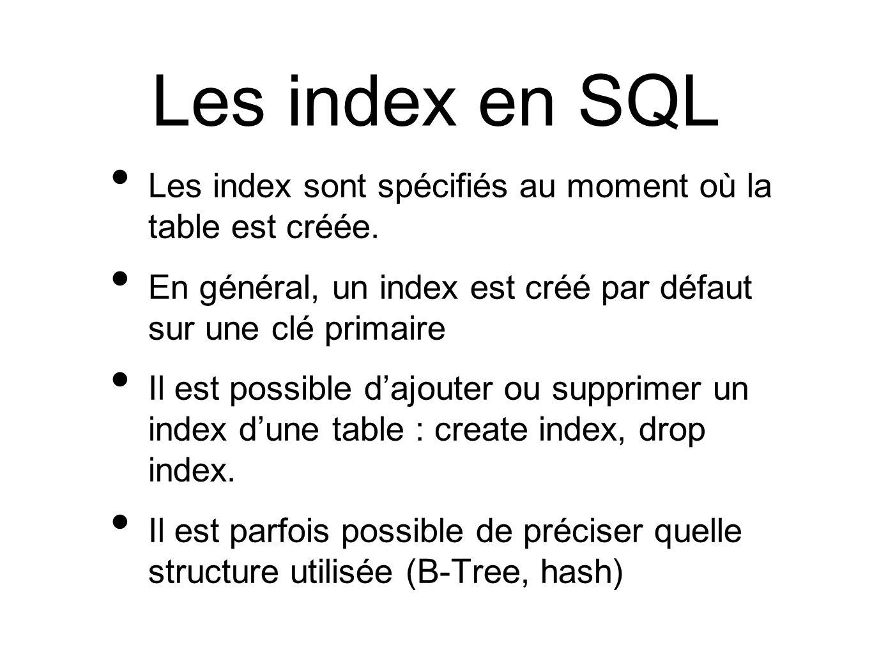 Les index en SQL Les index sont spécifiés au moment où la table est créée.