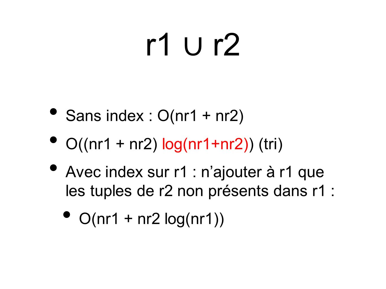 r1 r2 Sans index : O(nr1 + nr2) O((nr1 + nr2) log(nr1+nr2)) (tri) Avec index sur r1 : najouter à r1 que les tuples de r2 non présents dans r1 : O(nr1 + nr2 log(nr1))