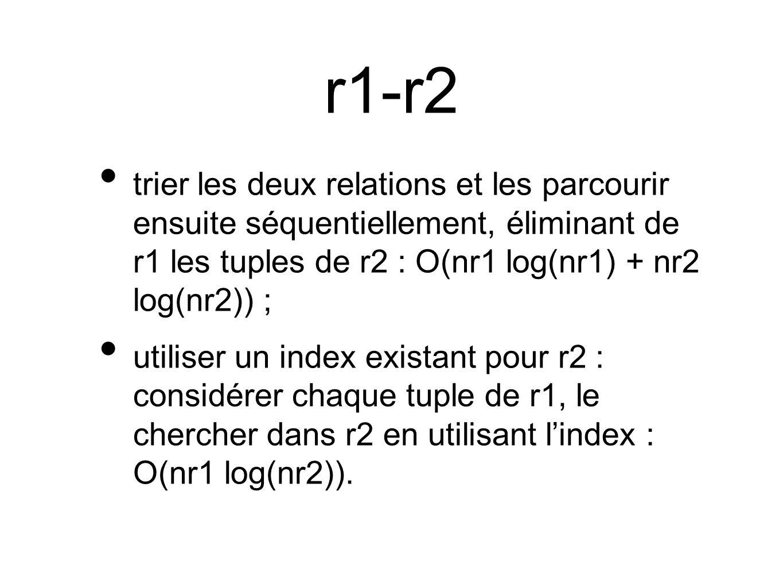 r1-r2 trier les deux relations et les parcourir ensuite séquentiellement, éliminant de r1 les tuples de r2 : O(nr1 log(nr1) + nr2 log(nr2)) ; utiliser un index existant pour r2 : considérer chaque tuple de r1, le chercher dans r2 en utilisant lindex : O(nr1 log(nr2)).
