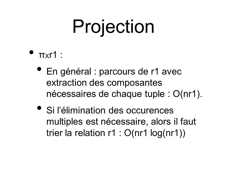 Projection π X r1 : En général : parcours de r1 avec extraction des composantes nécessaires de chaque tuple : O(nr1).