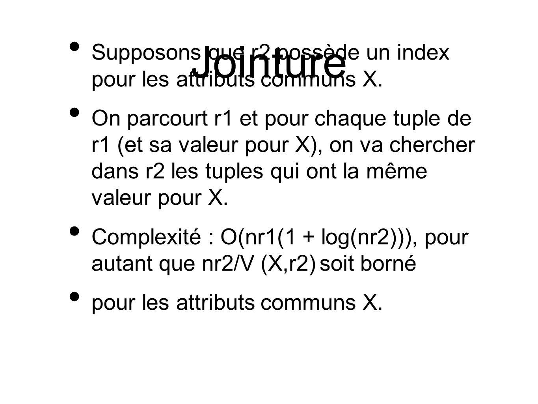 Jointure Supposons que r2 possède un index pour les attributs communs X.