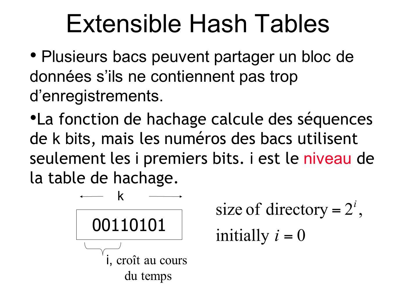 Extensible Hash Tables Plusieurs bacs peuvent partager un bloc de données sils ne contiennent pas trop denregistrements.