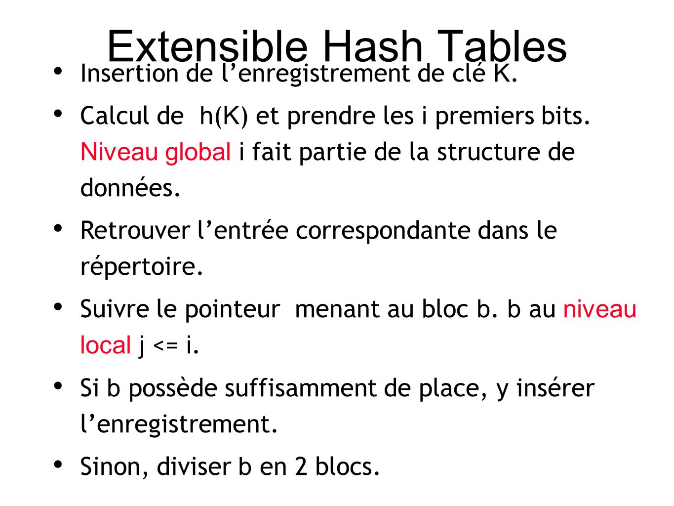 Extensible Hash Tables Insertion de lenregistrement de clé K.