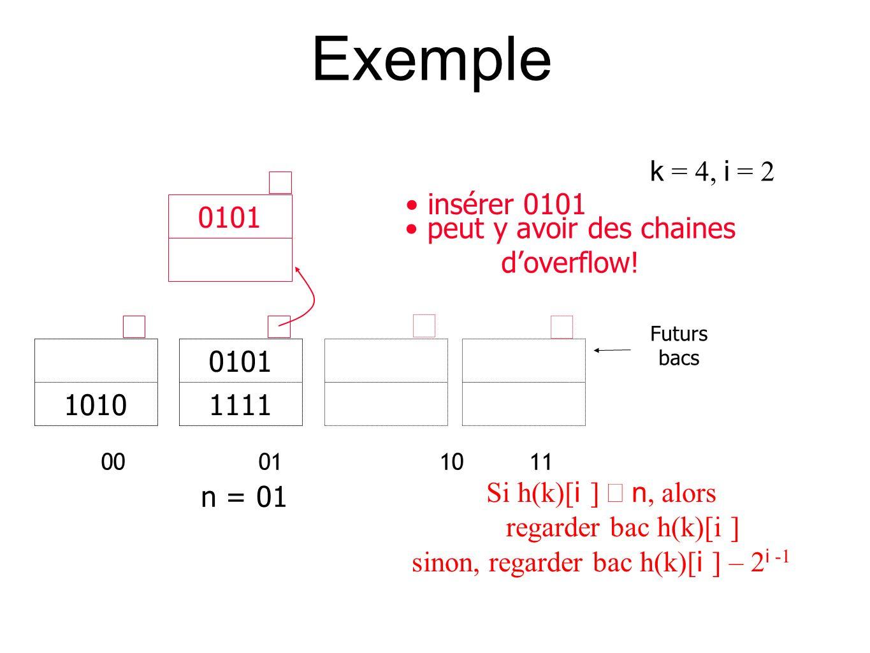 Exemple 00 01 1011 010111111010 n = 01 Futurs bacs 0101 peut y avoir des chaines doverflow.