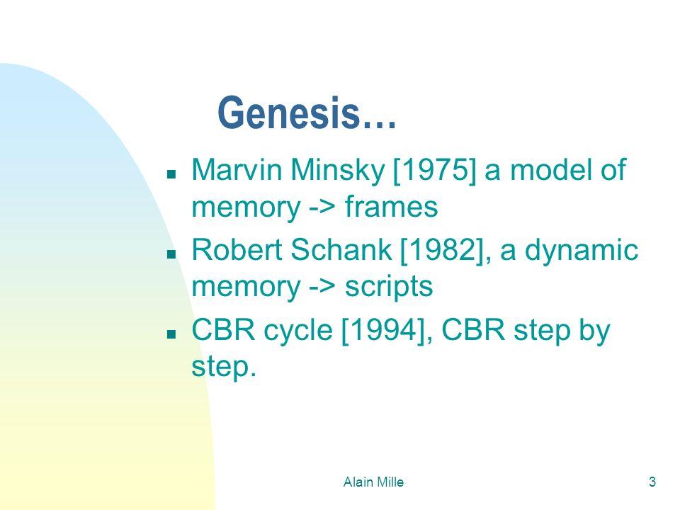 Alain Mille3 Genesis… n Marvin Minsky [1975] a model of memory -> frames n Robert Schank [1982], a dynamic memory -> scripts n CBR cycle [1994], CBR s