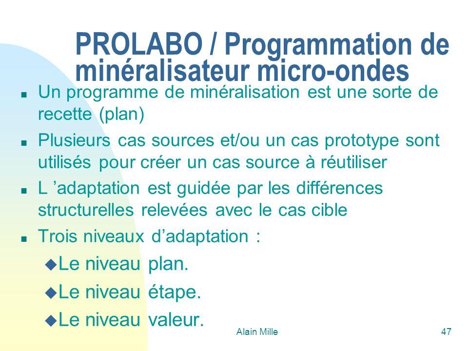 Alain Mille47 PROLABO / Programmation de minéralisateur micro-ondes n Un programme de minéralisation est une sorte de recette (plan) n Plusieurs cas s