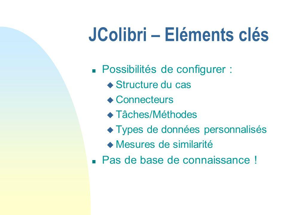 JColibri – Possibilités d extension n Développement de tâches/méthodes personnalisées u Description en XML (automatisé par JColibri) u Implantation en Java n Développement de mesures de similarité n Utilisation des composants supplémentaires fournis avec JColibri ou par d autres membres de la communauté : u CRN u Racer u Composants personnalisés