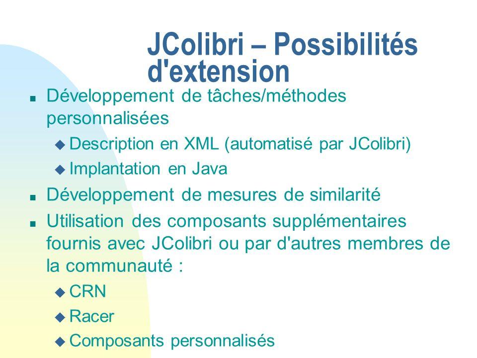 JColibri – Possibilités d'extension n Développement de tâches/méthodes personnalisées u Description en XML (automatisé par JColibri) u Implantation en