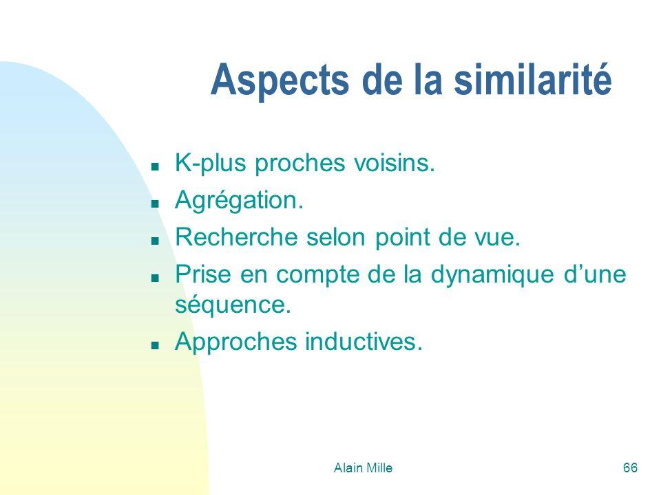 Alain Mille66 Aspects de la similarité n K-plus proches voisins. n Agrégation. n Recherche selon point de vue. n Prise en compte de la dynamique dune