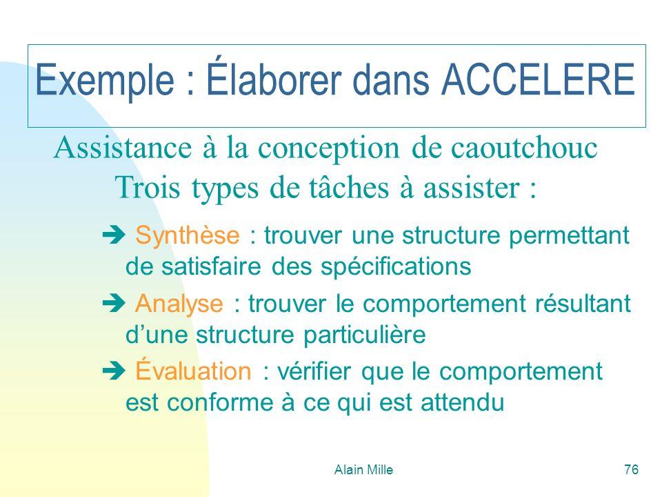 Alain Mille76 Exemple : Élaborer dans ACCELERE Synthèse : trouver une structure permettant de satisfaire des spécifications Analyse : trouver le compo
