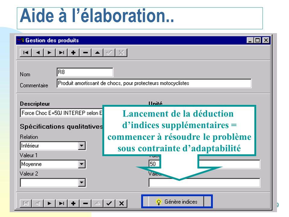 Alain Mille79 Copie d écran Accelere Lancement de la déduction dindices supplémentaires = commencer à résoudre le problème sous contrainte dadaptabili