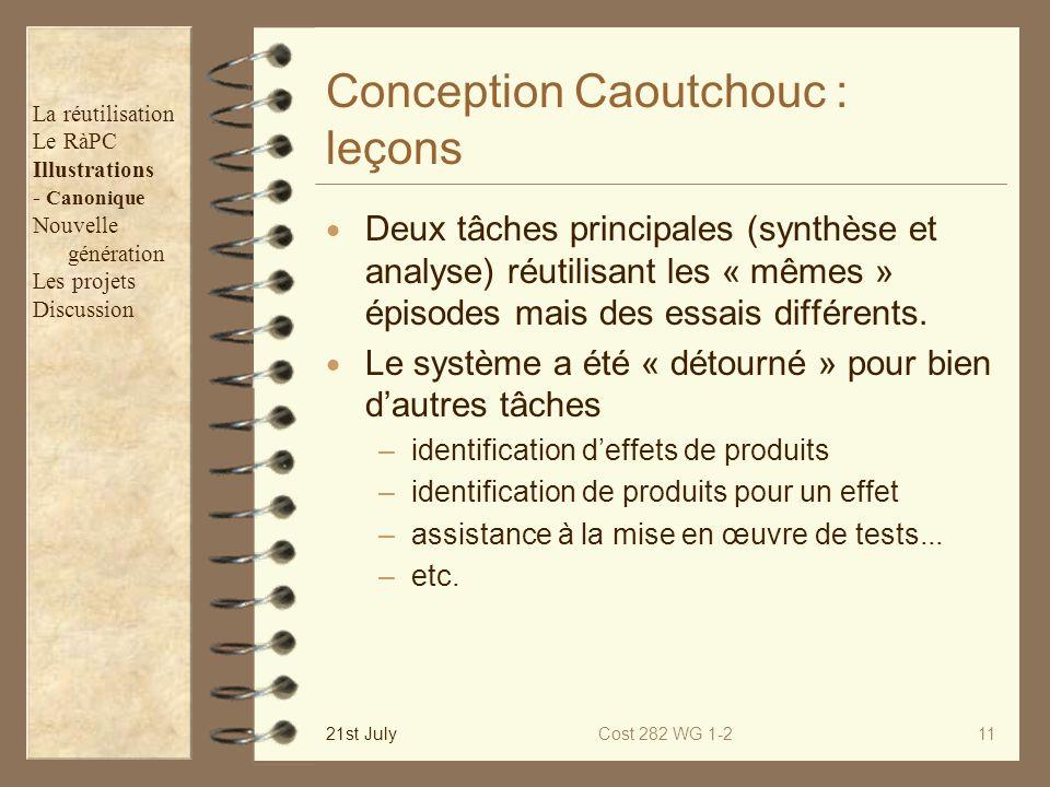 21st JulyCost 282 WG 1-211 Conception Caoutchouc : leçons Deux tâches principales (synthèse et analyse) réutilisant les « mêmes » épisodes mais des es