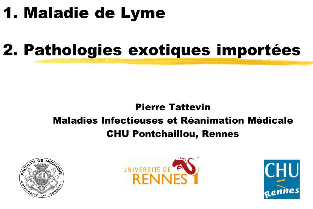 1. Maladie de Lyme 2. Pathologies exotiques importées Pierre Tattevin Maladies Infectieuses et Réanimation Médicale CHU Pontchaillou, Rennes