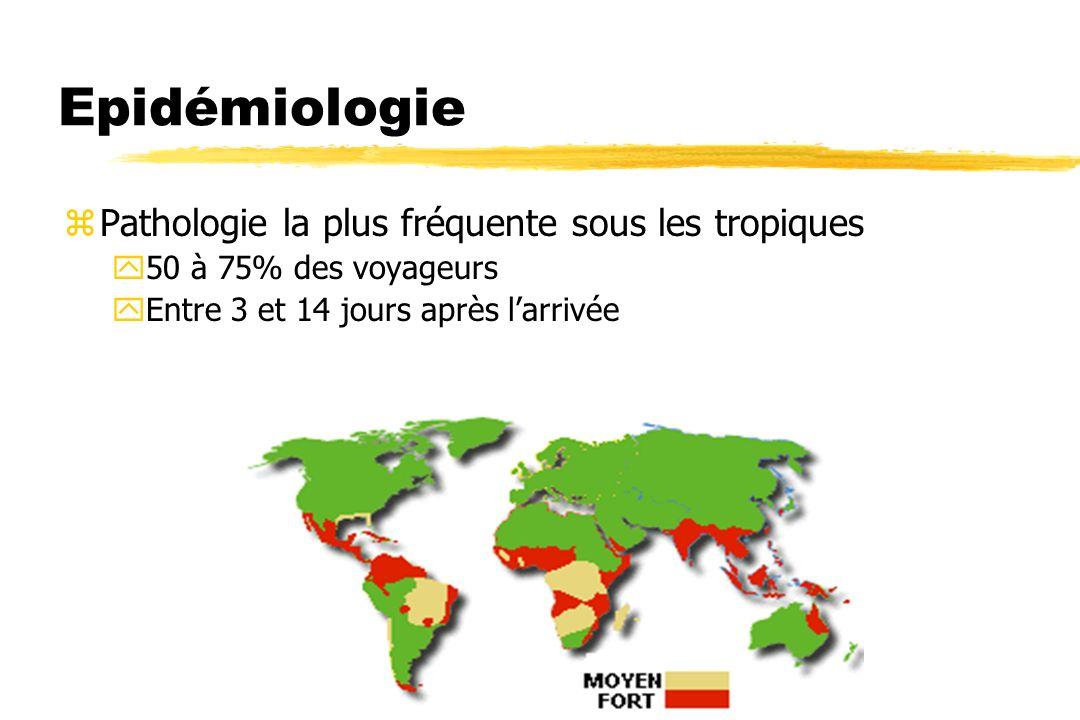 Epidémiologie zPathologie la plus fréquente sous les tropiques y50 à 75% des voyageurs yEntre 3 et 14 jours après larrivée