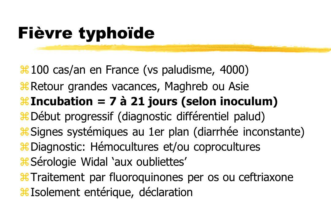 Fièvre typhoïde z100 cas/an en France (vs paludisme, 4000) zRetour grandes vacances, Maghreb ou Asie zIncubation = 7 à 21 jours (selon inoculum) zDébu