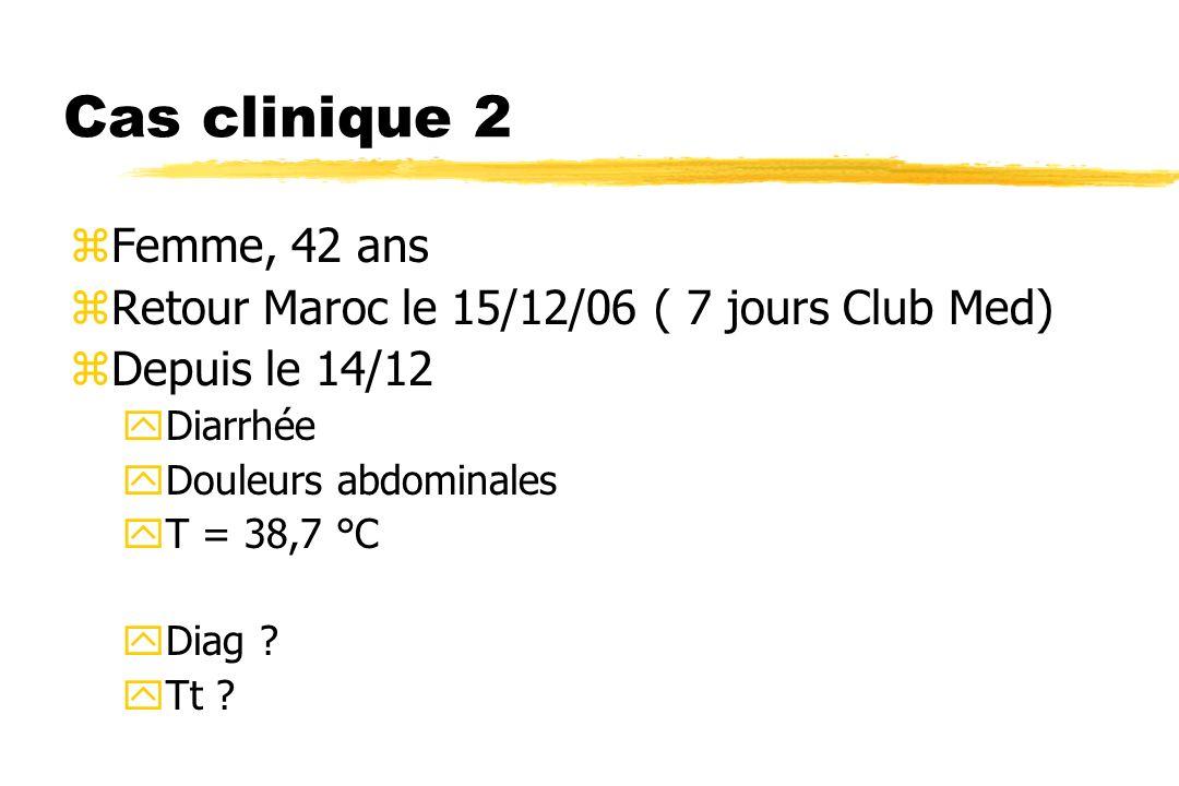 Cas clinique 2 zFemme, 42 ans zRetour Maroc le 15/12/06 ( 7 jours Club Med) zDepuis le 14/12 yDiarrhée yDouleurs abdominales yT = 38,7 °C yDiag ? yTt
