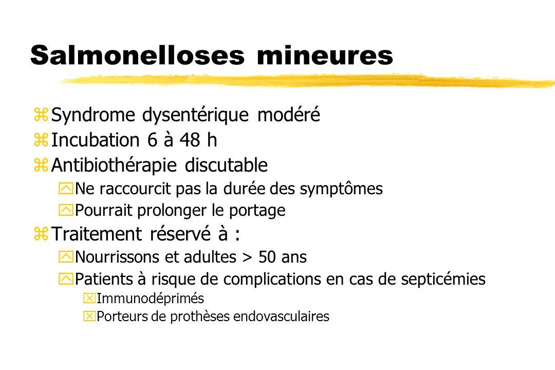 Salmonelloses mineures zSyndrome dysentérique modéré zIncubation 6 à 48 h zAntibiothérapie discutable yNe raccourcit pas la durée des symptômes yPourr