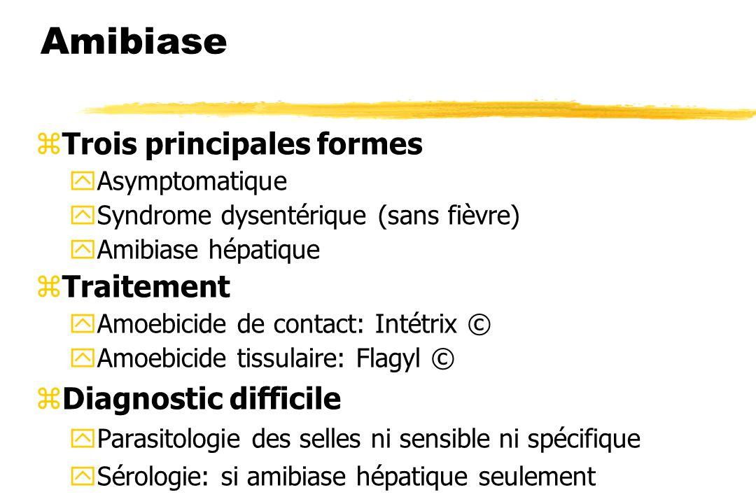 Amibiase zTrois principales formes yAsymptomatique ySyndrome dysentérique (sans fièvre) yAmibiase hépatique zTraitement yAmoebicide de contact: Intétr