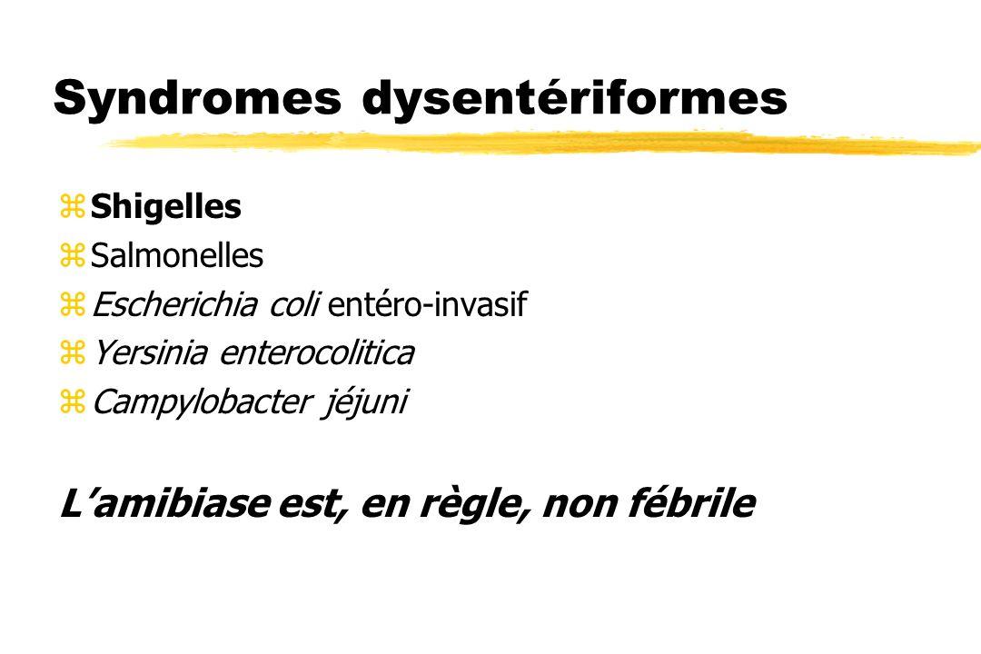 Syndromes dysentériformes zShigelles zSalmonelles zEscherichia coli entéro-invasif zYersinia enterocolitica zCampylobacter jéjuni Lamibiase est, en rè