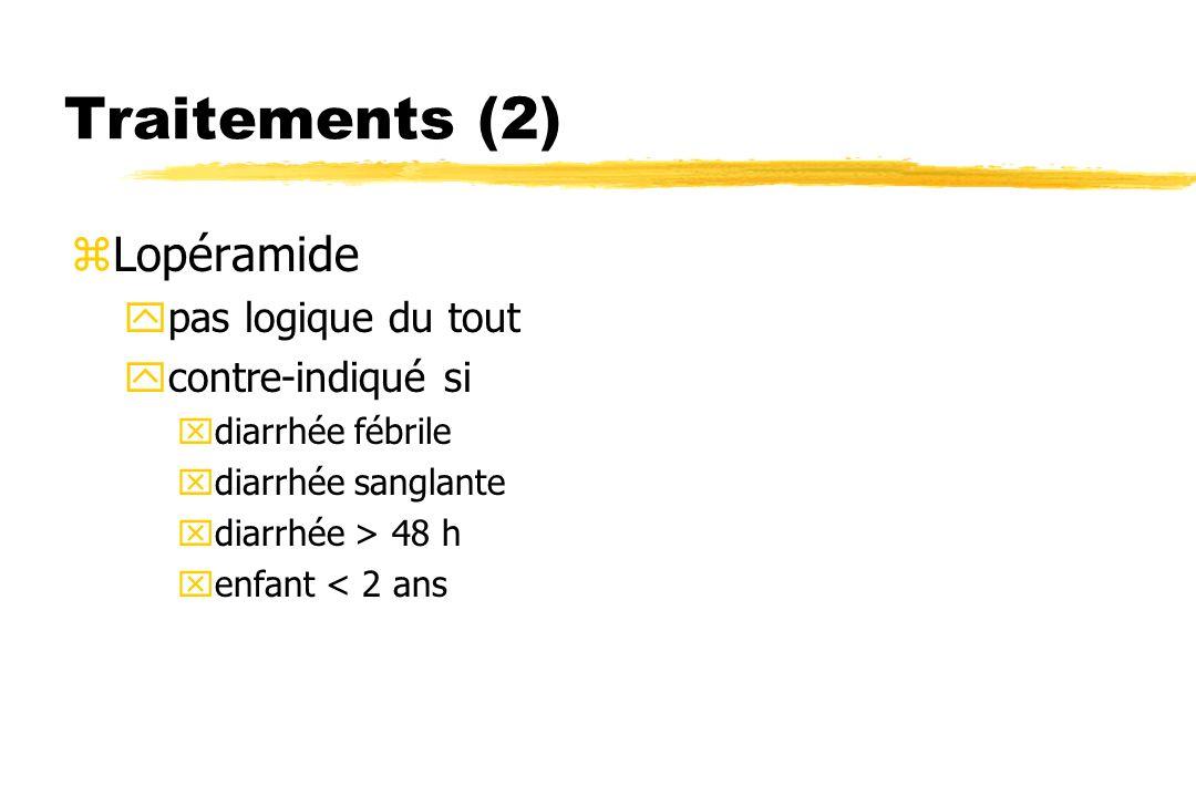 Traitements (2) zLopéramide ypas logique du tout ycontre-indiqué si xdiarrhée fébrile xdiarrhée sanglante xdiarrhée > 48 h xenfant < 2 ans