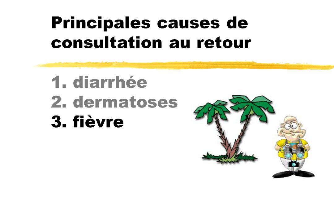 Principales causes de consultation au retour 1. diarrhée 2. dermatoses 3. fièvre