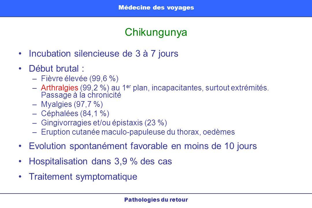 Chikungunya Pathologies du retour Médecine des voyages Incubation silencieuse de 3 à 7 jours Début brutal : –Fièvre élevée (99,6 %) –Arthralgies (99,2