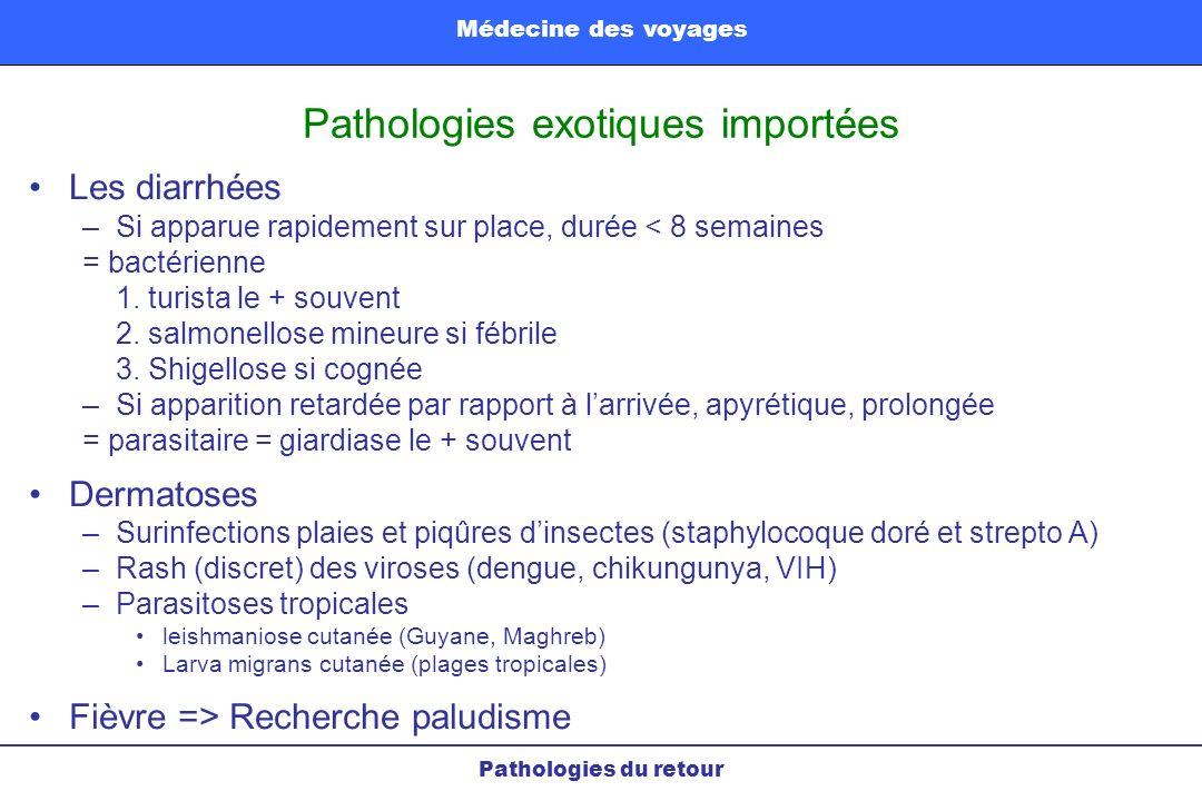 Pathologies exotiques importées Pathologies du retour Médecine des voyages Les diarrhées –Si apparue rapidement sur place, durée < 8 semaines = bactér