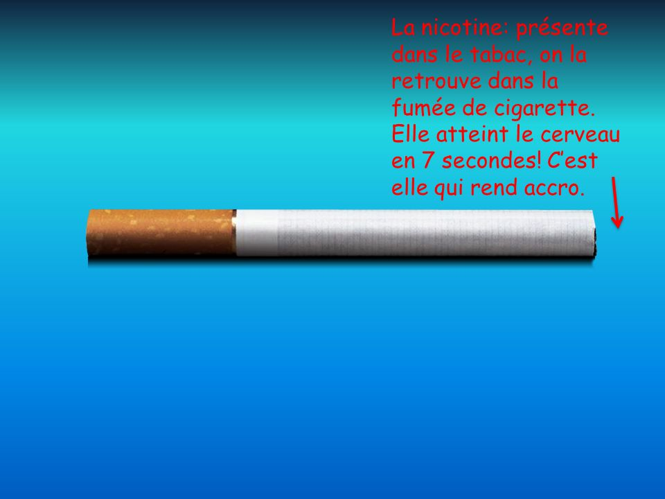La nicotine: présente dans le tabac, on la retrouve dans la fumée de cigarette. Elle atteint le cerveau en 7 secondes! Cest elle qui rend accro.