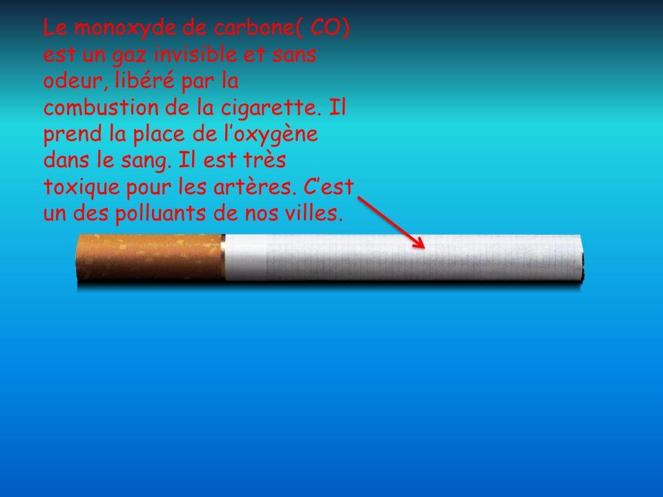 Le monoxyde de carbone( CO) est un gaz invisible et sans odeur, libéré par la combustion de la cigarette. Il prend la place de loxygène dans le sang.
