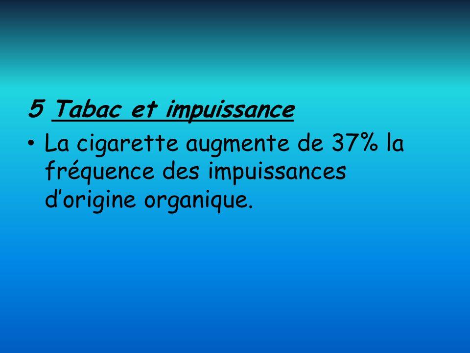 5 Tabac et impuissance La cigarette augmente de 37% la fréquence des impuissances dorigine organique.