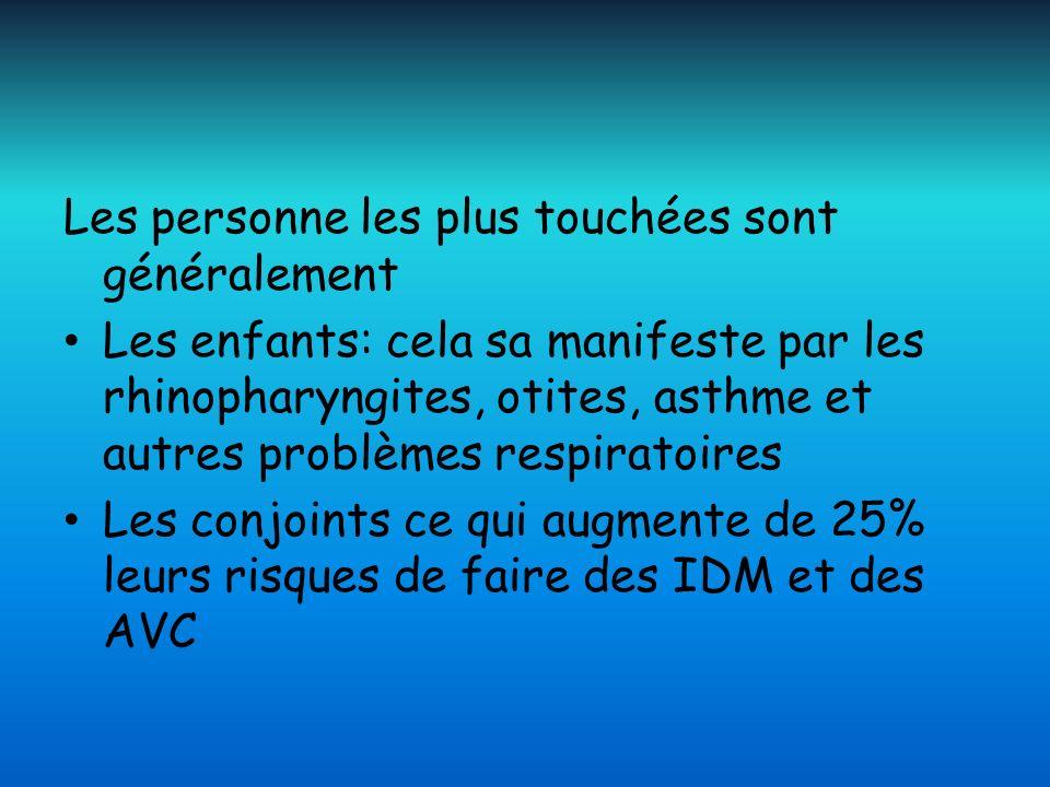 Les personne les plus touchées sont généralement Les enfants: cela sa manifeste par les rhinopharyngites, otites, asthme et autres problèmes respirato