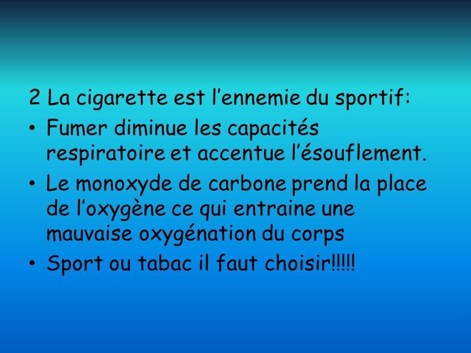 2 La cigarette est lennemie du sportif: Fumer diminue les capacités respiratoire et accentue lésouflement. Le monoxyde de carbone prend la place de lo