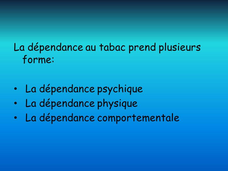 La dépendance au tabac prend plusieurs forme: La dépendance psychique La dépendance physique La dépendance comportementale