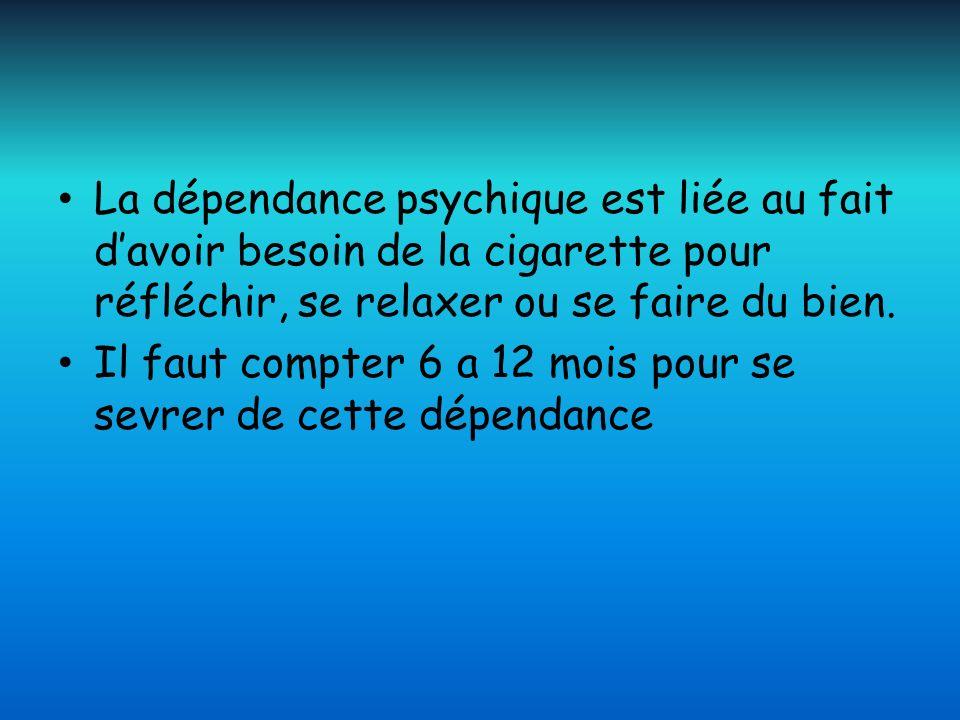 La dépendance psychique est liée au fait davoir besoin de la cigarette pour réfléchir, se relaxer ou se faire du bien. Il faut compter 6 a 12 mois pou