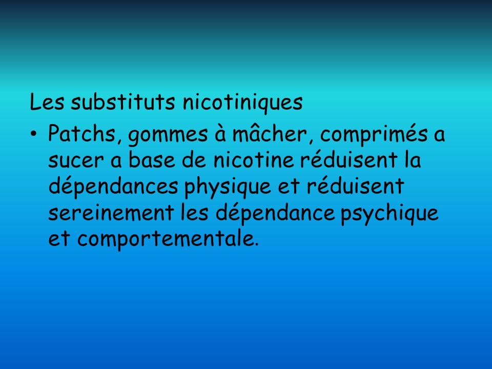 Les substituts nicotiniques Patchs, gommes à mâcher, comprimés a sucer a base de nicotine réduisent la dépendances physique et réduisent sereinement l