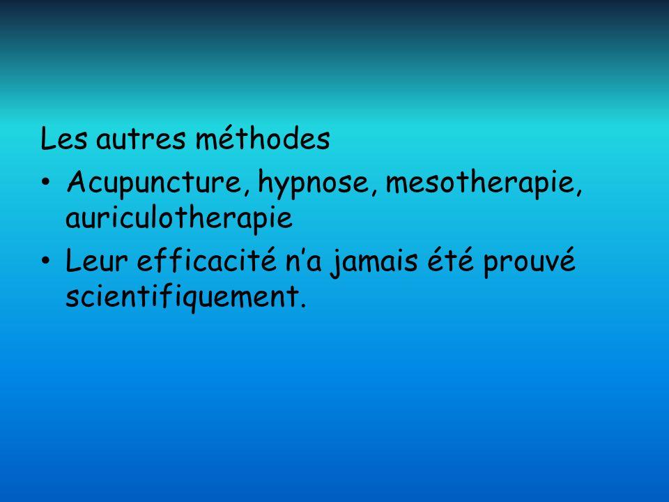 Les autres méthodes Acupuncture, hypnose, mesotherapie, auriculotherapie Leur efficacité na jamais été prouvé scientifiquement.