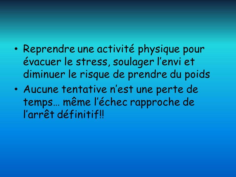 Reprendre une activité physique pour évacuer le stress, soulager lenvi et diminuer le risque de prendre du poids Aucune tentative nest une perte de te
