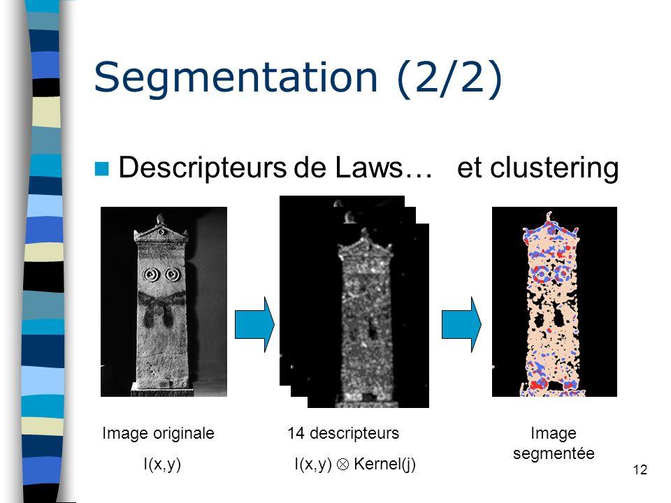 12 Segmentation (2/2) Descripteurs de Laws… Image originale I(x,y) 14 descripteurs I(x,y) Kernel(j) et clustering Image segmentée