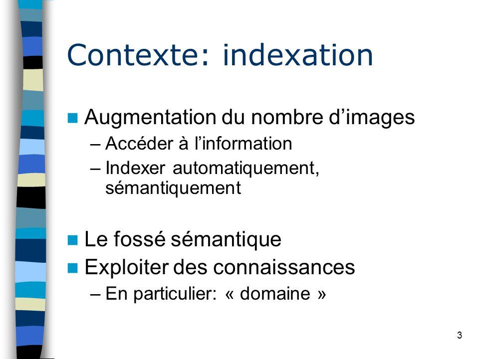 3 Contexte: indexation Augmentation du nombre dimages –Accéder à linformation –Indexer automatiquement, sémantiquement Le fossé sémantique Exploiter d