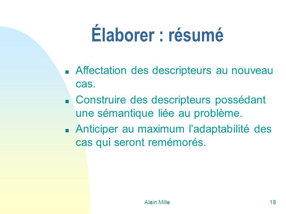 Alain Mille18 Élaborer : résumé n Affectation des descripteurs au nouveau cas. n Construire des descripteurs possédant une sémantique liée au problème