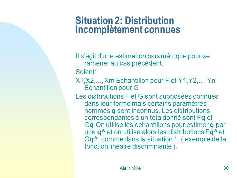 Alain Mille30 Situation 2: Distribution incomplètement connues Il s'agit d'une estimation paramétrique pour se ramener au cas précédent: Soient: X1,X2