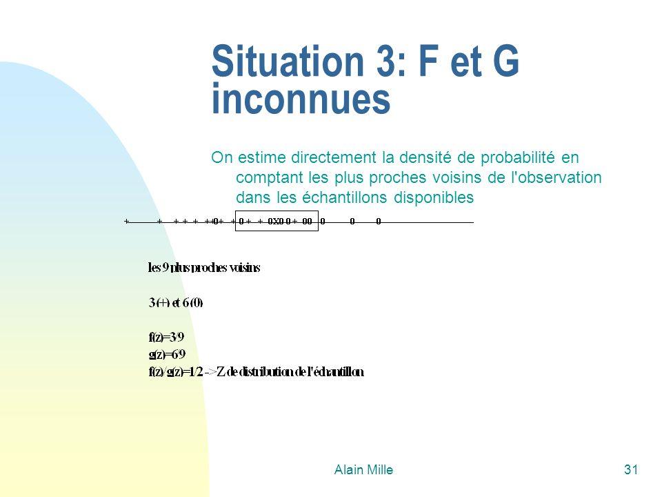 Alain Mille31 Situation 3: F et G inconnues On estime directement la densité de probabilité en comptant les plus proches voisins de l'observation dans